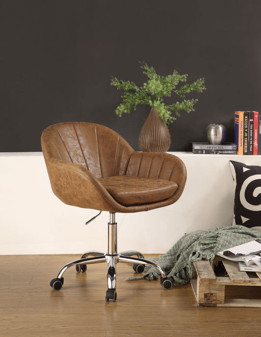 Giolla Vintage Chocolate PU & Chrome Office Chair image