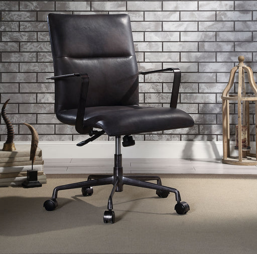 Indra Onyx Black Top Grain Leather Office Chair image