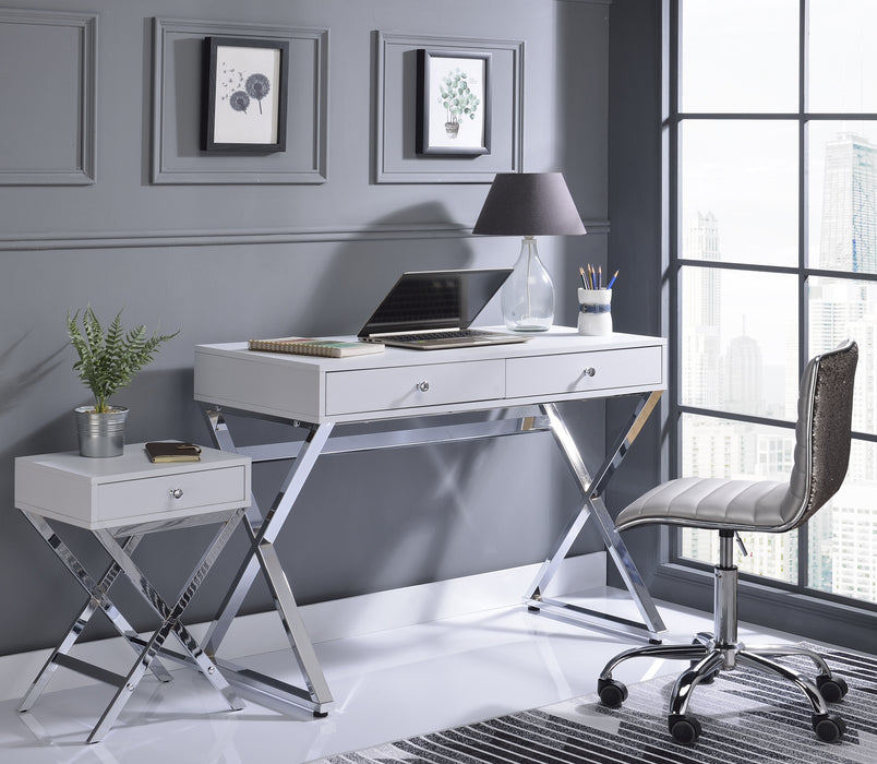 Coleen White & Chrome Desk image