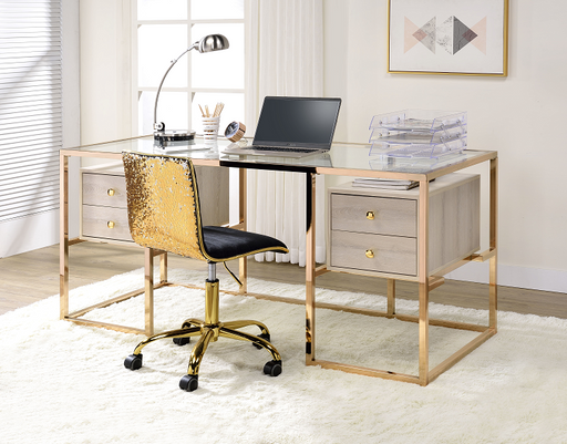 Huyana Clear Glass & Gold Desk image