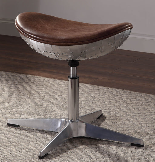 Brancaster Retro Brown Top Grain Leather & Aluminum Stool image