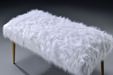 Bagley II White Faux Fur & Gold Bench image