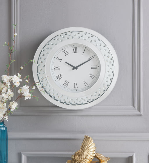 Nysa Mirrored & Faux Crystals Wall Clock image