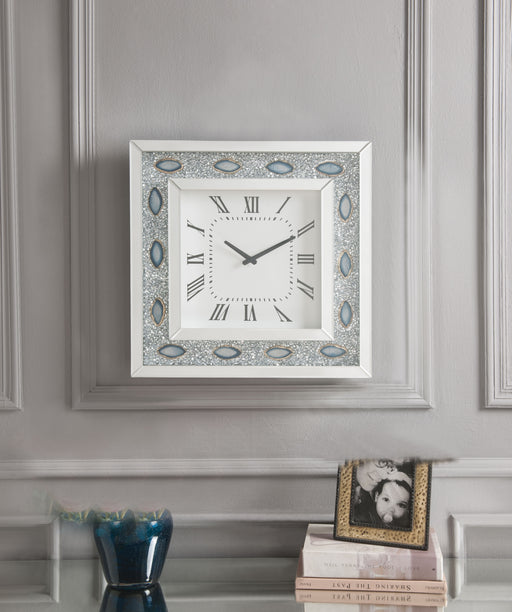 Sonia Mirrored & Faux Agate Wall Clock image
