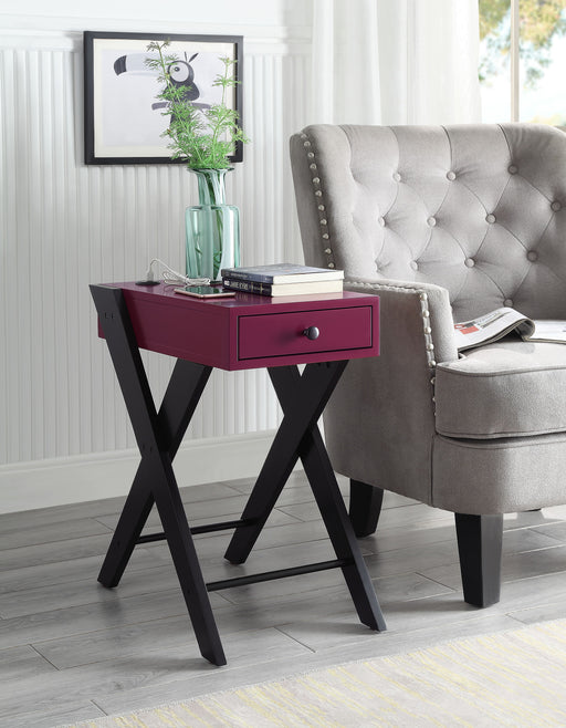 Fierce Burgundy & Black Side Table (USB Charging Dock) image