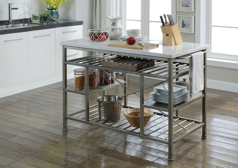 Lanzo Marble & Antique Pewter Kitchen Island (Counter) image