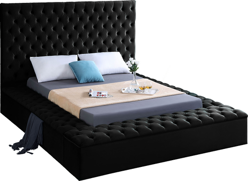 Bliss Black Velvet Queen Bed (3 Boxes) image