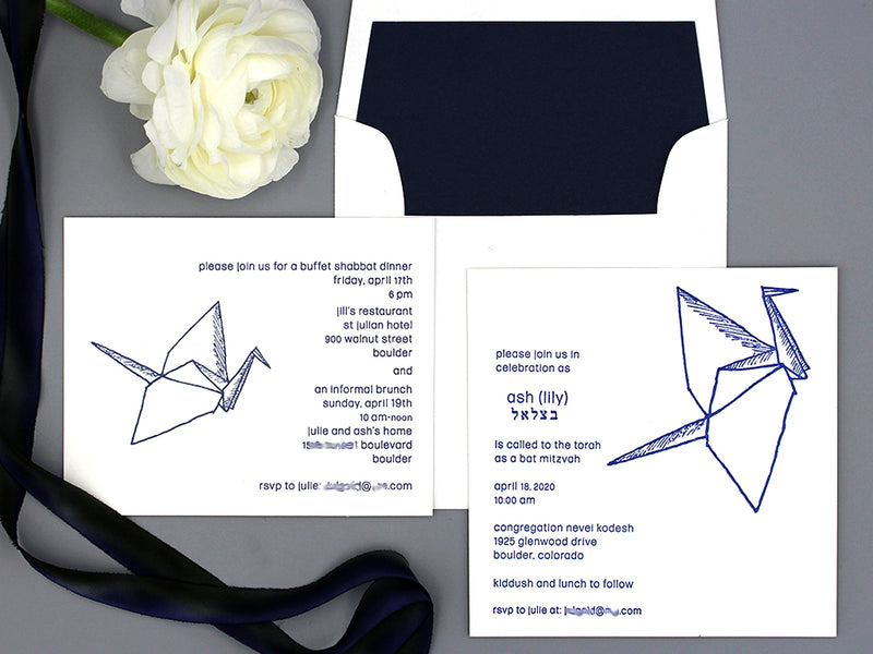 ORIGAMI CRANE INSPIRED BAT MITZVAH INVITATIONS