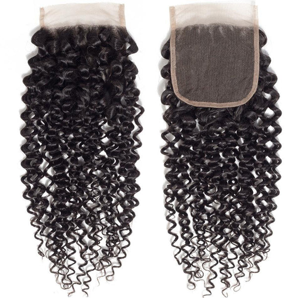 4x4 Brazilian Kinky Curly Human Hair Closure with Baby Hair 5x5 6x6