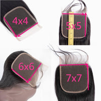 Deep Wave 4x4 Brazilian Human Hair Closure with Baby Hair 5x5 6x6 Lace