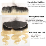 Beumax Hair Body Wave Brazilian Virgin Hair 13x4 Lace Frontal #613