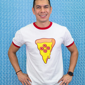 Load image into Gallery viewer, Adult Pizza Gaming  Ringer T-shirt