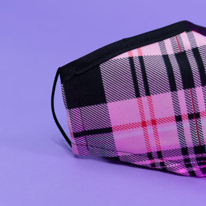 Load image into Gallery viewer, Pink Plaid Face Mask