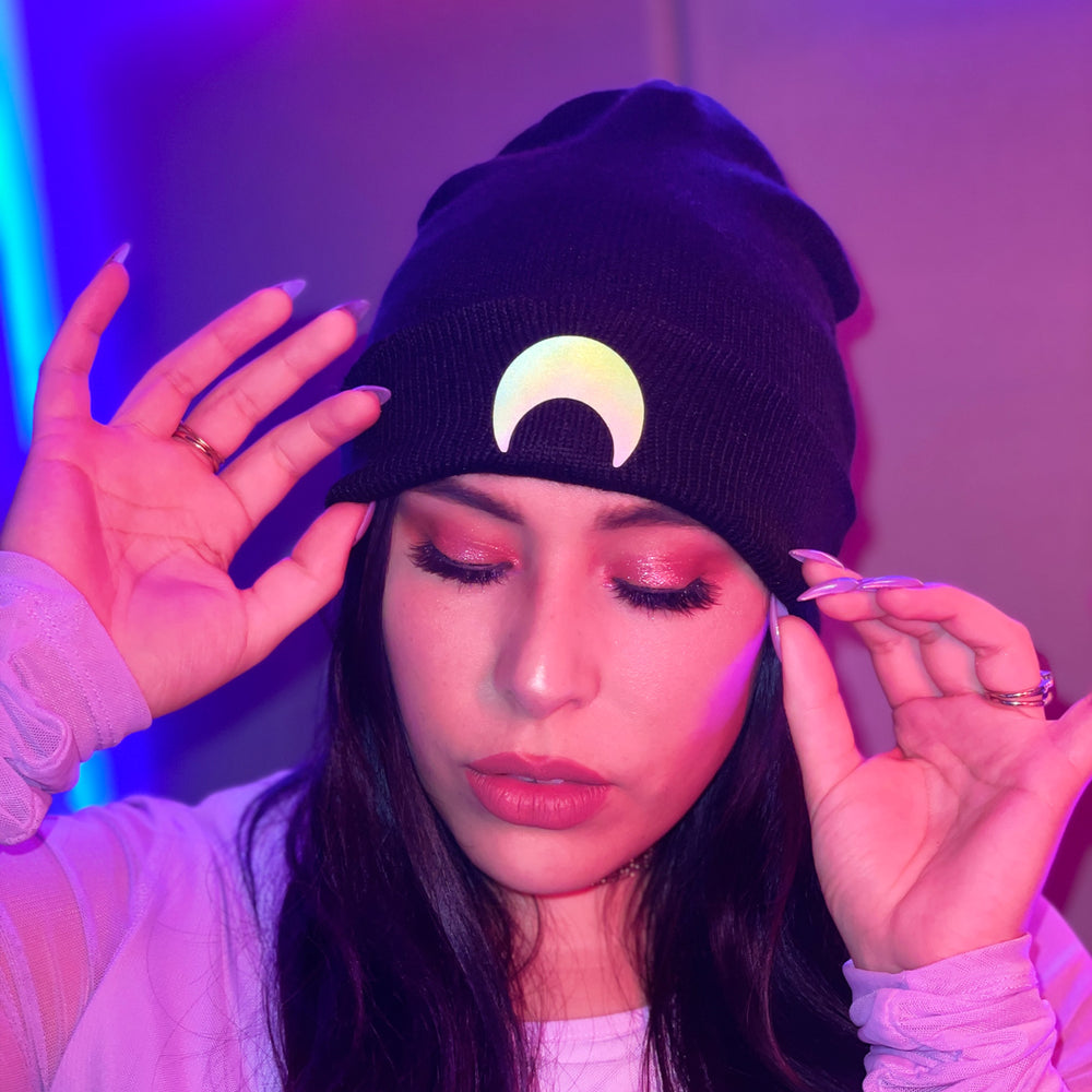 Crescent Moon Reflective Beanie