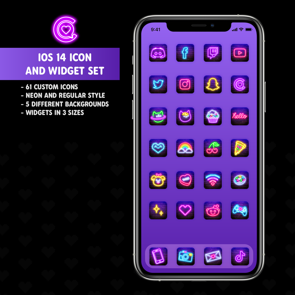 iOS 14 Neon Icon & Widget Pack by iHasCupquake