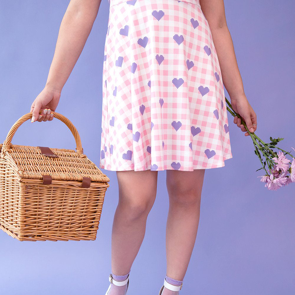 Load image into Gallery viewer, Pastel Pixelated Picnic Gingham Dress