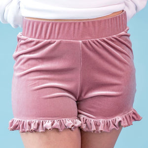 Load image into Gallery viewer, Flower Haze Ruffle Velvet Shorts by Moody Me