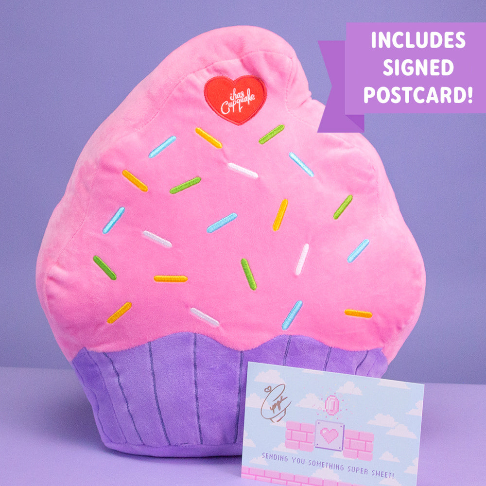 Cupcake Pillow + Signed Postcard Bundle