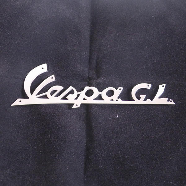"Vespa: Badge - Legshield - ""Vespa GL"" - Script, Chrome"