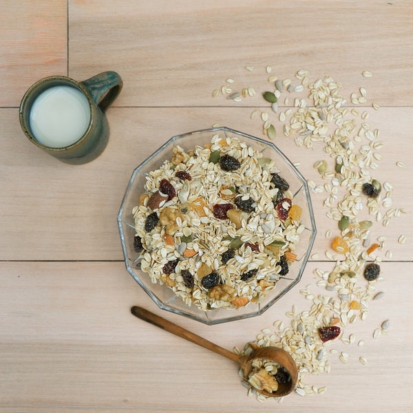 Feel Good Grocer 8-in-1 Muesli in a bowl with milk