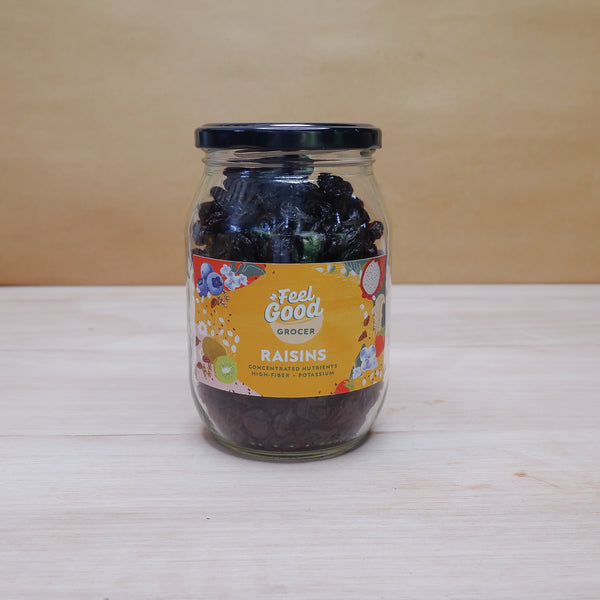 Feel Good Grocer raisins in a bottle