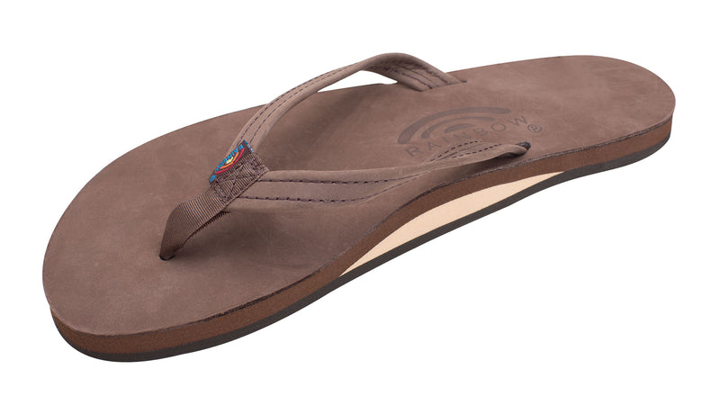 "Rainbow Single Layer Premier Leather with Arch Support and a 1/2"" Narrow Strap Expresso"