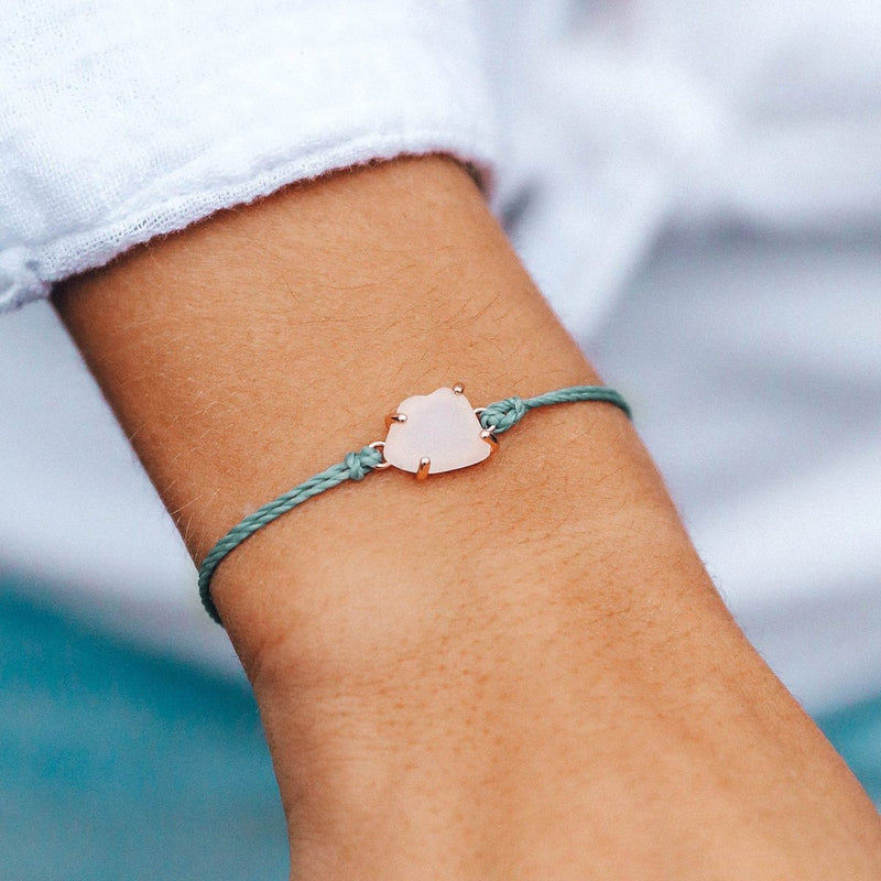 PURA VIDA ROSE GOLD SEA GLASS CHARM SMOKE BLUE
