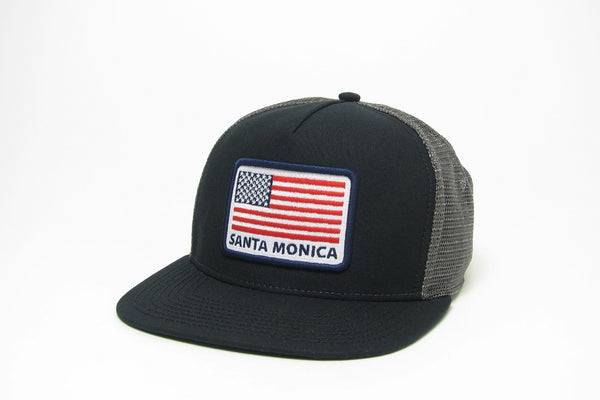Trucker Hat - USA Flag with Santa Monica,California
