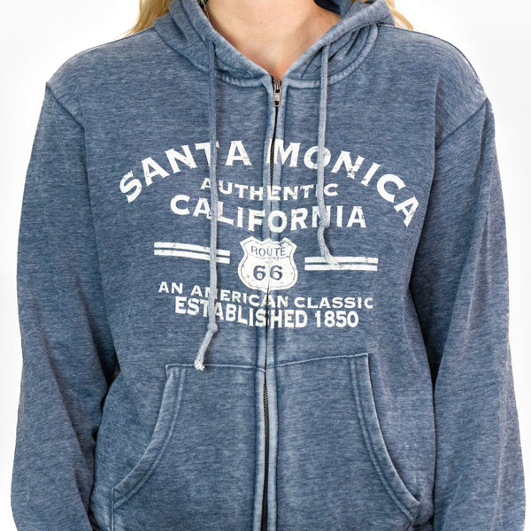 Burn Out Full Zip Hoodie Sweatshirt Santa Monica Ca / Route 66 Unisex.