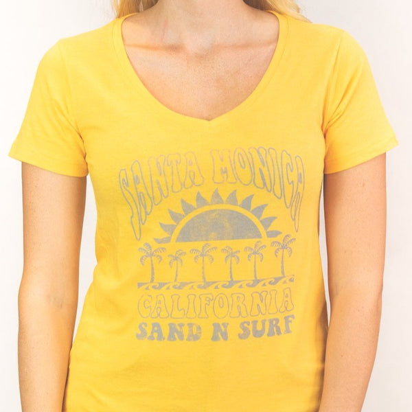 Sun and Fun Palms Sand n' Surf Branded Santa Monica, CA - V-Neck Shirt