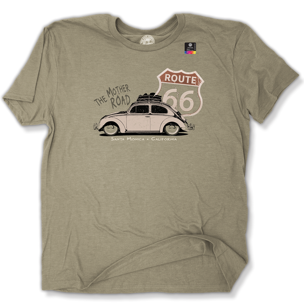 VW Bug Route 66 Official Licensed product Santa Monica, California T-Shirt