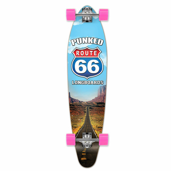 Punked Kicktail Longboard Complete - Route 66 Series - The Run