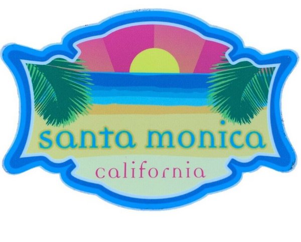 Santa Monica California Vinyl Sticker Sunset