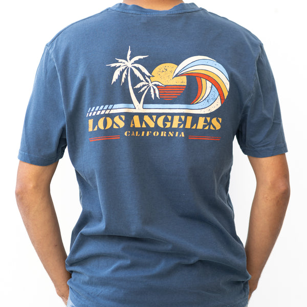 """Lineout"" Santa Monica California Print Men's T-Shirt"
