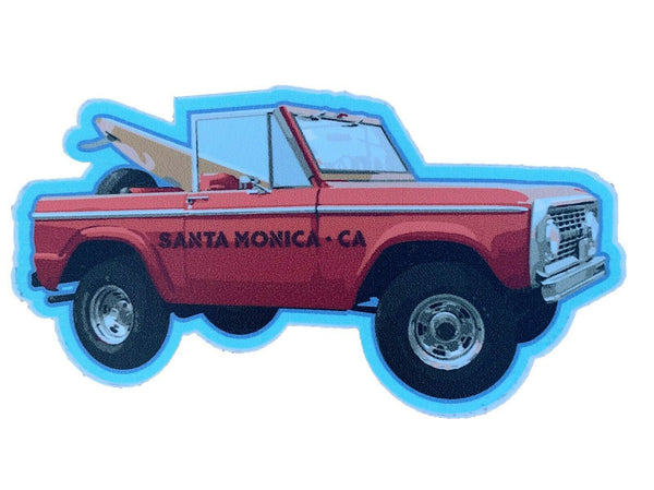 Santa Monica California Vinyl Sticker Truck With Surfboard