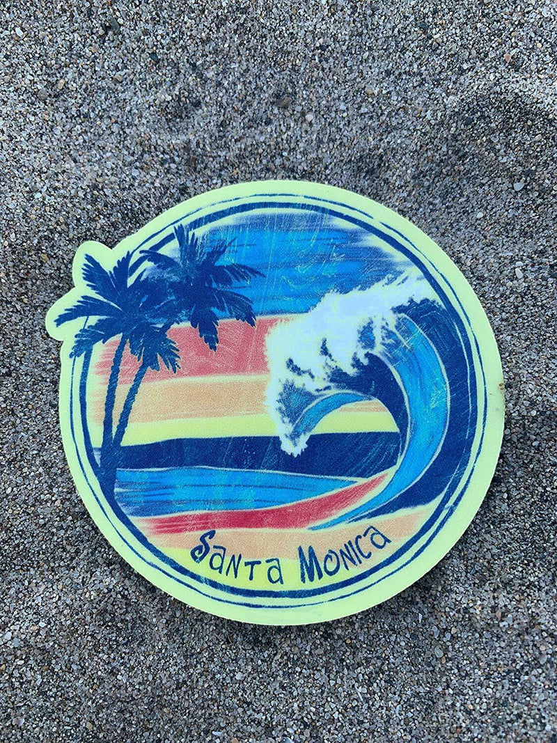 Santa Monica California Vinyl Wave with 2 Palms Sticker