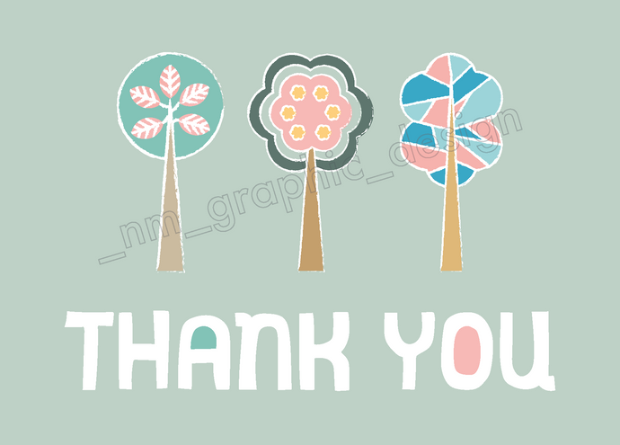 POSTCARDS - THANK YOU TREES - Chompa Handmade