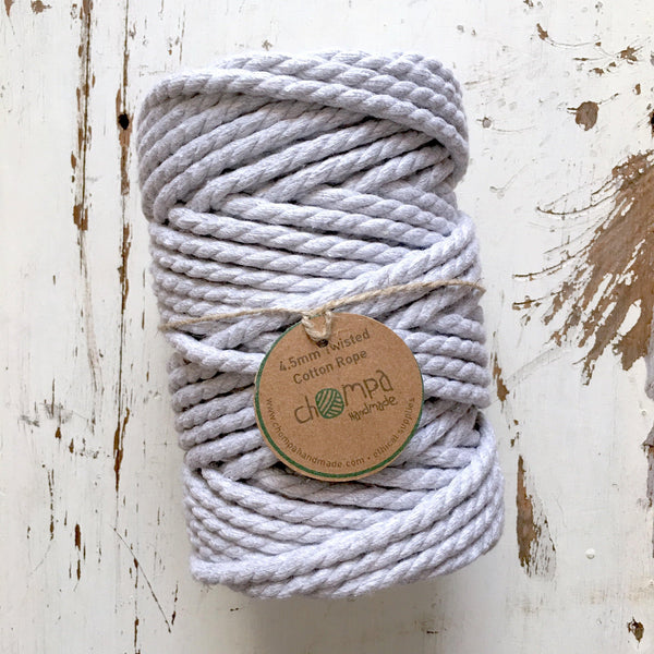 GREY CLOUD - Macrame Twisted Cotton Rope 4.5mm
