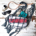Macrame beach bag - cotton & leather