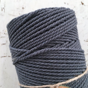 CHARCOAL - 2mm TWISTED COTTON ROPE - Chompa Handmade