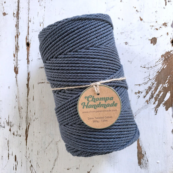 CHARCOAL - 2mm TWISTED COTTON ROPE