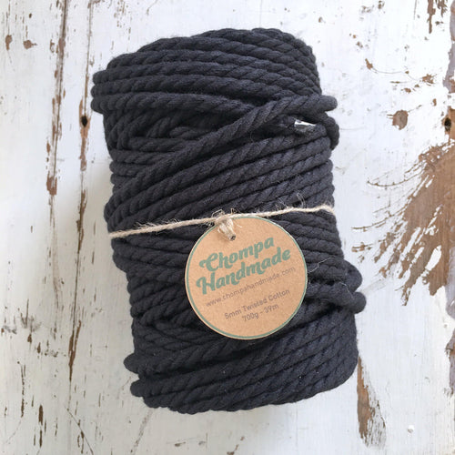 BLACK 5mm TWISTED - 1Kg - Chompa Handmade
