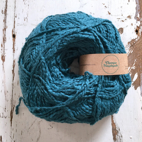 PALOMITA - Teal - Worsted Cotton Yarn - Chompa Handmade