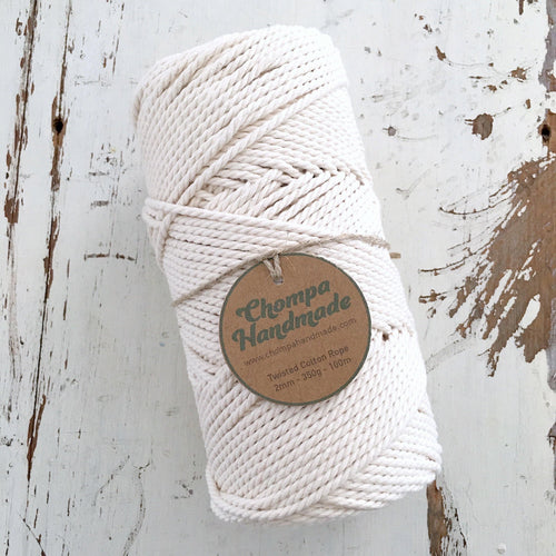 NATURAL - 2mm TWISTED COTTON ROPE - Chompa Handmade