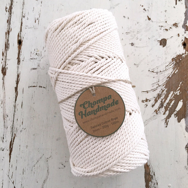 NATURAL - 2mm TWISTED COTTON ROPE