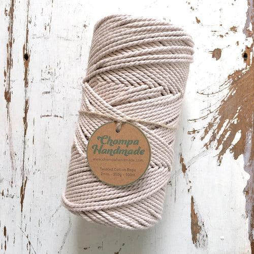 OATMEAL - 2mm TWISTED COTTON ROPE - Chompa Handmade