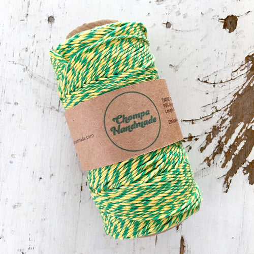 GREEN & YELLOW - TWINE - Slightly waxed string - Chompa Handmade