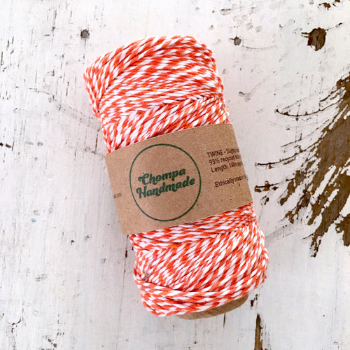 ORANGE & WHITE - TWINE - Slightly waxed string - Chompa Handmade