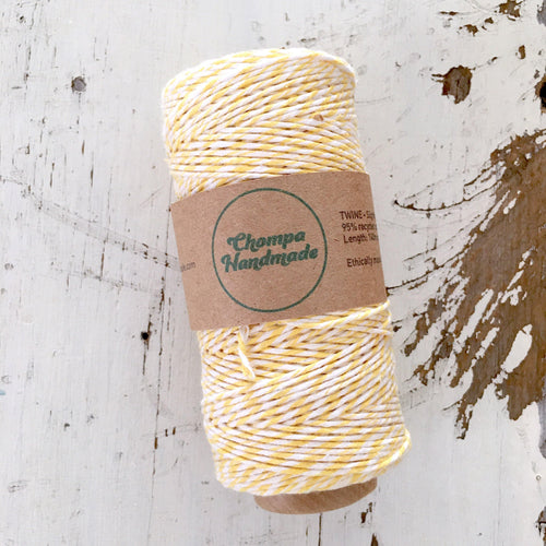 YELLOW & WHITE - TWINE - Slightly waxed string - Chompa Handmade