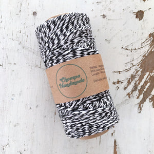 BLACK & WHITE - TWINE - Slightly waxed string - Chompa Handmade